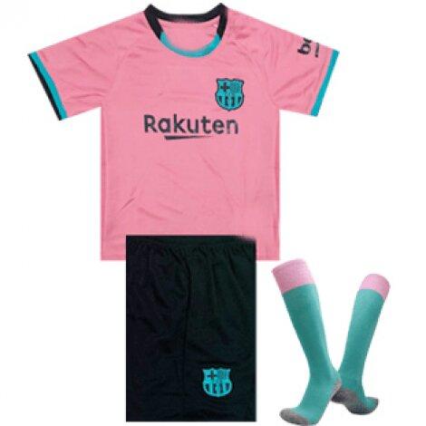 Барселона (Barcelona) детская резервная форма сезон 2020-2021 (футболка + шорты + гетры)
